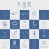 Nourriture allergique, vecteur de symboles de GMO Illustration Stock