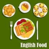 Nourriture anglaise traditionnelle de déjeuner de cuisine illustration de vecteur