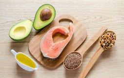 Nourriture avec des graisses insaturées Image libre de droits