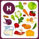 Nourriture avec la vitamine H, B7 Photographie stock libre de droits