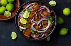 Nourriture chilienne latino-américaine Ceviche de salade de cochayuyo comestible d'algue images libres de droits