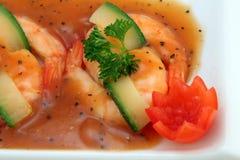 Nourriture chinoise - le gourmet a grillé des crevettes roses de tigre de roi Photo libre de droits