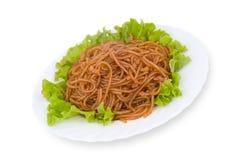 Nourriture chinoise. Nouilles d'amidon, chemin de découpage. Image libre de droits
