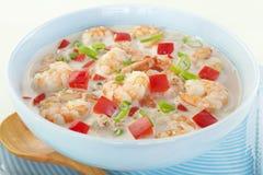 Nourriture créole des Caraïbe de soupe à crevette rose de noix de coco photo libre de droits