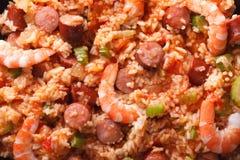 Nourriture créole : macro jambalaya Fond horizontal de vue supérieure photos stock