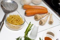 Nourriture crue et cuisson Photographie stock