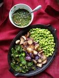 Nourriture cuite à la friteuse : aubergines, pimientos del padron images stock