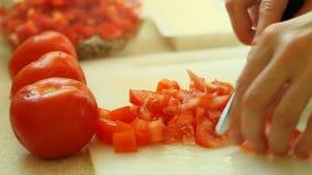 Nourriture découpage en tranches avec le légume rouge de tomate de couteau de cuisine clips vidéos