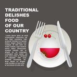 Nourriture délicieuse traditionnelle d'affiche de pays de la Pologne Dessert national européen Gâteau d'illustration de vecteur a illustration libre de droits
