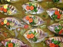 Nourriture d'ébullition de poissons Images libres de droits