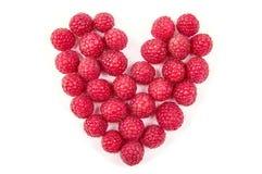 Nourriture d'amusement Coeur fait à partir de la framboise Image libre de droits