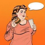 Nourriture d'Art Fat Woman Eating Fast de bruit et soude potable Photo stock