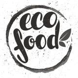 Nourriture d'eco de logo avec des feuilles Insigne d'aliment biologique dans le cosmeti de vecteur illustration de vecteur