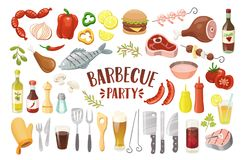 Nourriture de BBQ et collection de boissons illustration stock