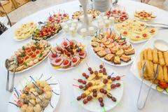 Nourriture de canapes de restauration Photographie stock libre de droits