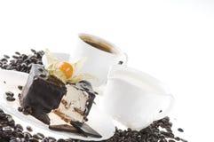 Nourriture de chocolat avec du café et le lait Images stock