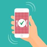 Nourriture de commande en ligne avec l'illustration d'actions de smartphone Images libres de droits