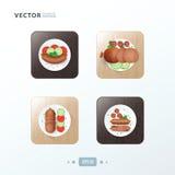 Nourriture de conception d'icônes de hot-dog sur le bois Photos stock
