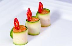Nourriture de doigt saumonée de /poivron   Photographie stock libre de droits