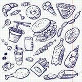 Nourriture de griffonnage Images libres de droits