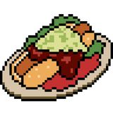 Nourriture de hot-dog d'art de pixel de vecteur Image libre de droits