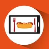 Nourriture de hot-dog d'ordre de Smartphone en ligne illustration libre de droits