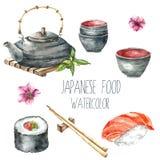 Nourriture de Japonais d'aquarelle photos stock
