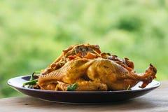 Nourriture de la Thaïlande, poulet de fines herbes de vapeur de la Thaïlande, poulet de fines herbes cuit à la vapeur Image libre de droits