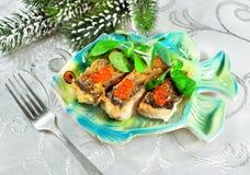 Nourriture de Noël - poisson rôti Photographie stock