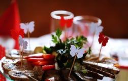 Nourriture de publicités décoratives de partie Image libre de droits