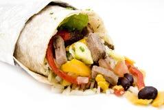 Nourriture de riz de burrito de boeuf et de Mexicain de haricots images libres de droits