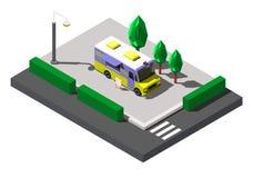 Nourriture de rue de camion de BBQ, illustration isométrique de vecteur Photo stock