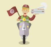 Nourriture-deliveryboy plate sur un scooter avec des boîtes de pizza Photo libre de droits