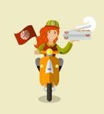 Nourriture-deliverygirl sur un scooter avec des boîtes de pizza, plates Image stock