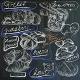 Nourriture - dessins de main sur le tableau noir, paquet Photographie stock