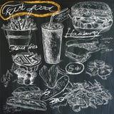 Nourriture - dessins de main sur le tableau noir, paquet Photos libres de droits