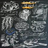 Nourriture - dessins de main sur le tableau noir, paquet Photos stock