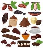 Nourriture douce de choco de cacao de bande dessinée de vecteur de chocolat d'ensemble d'illustration de confection de gâteau de  illustration libre de droits