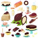 Nourriture douce de choco de vecteur de chocolat des graines de cacao ou de la poudre de cacao pour l'ensemble d'illustration de  illustration stock