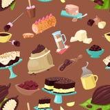 Nourriture douce de choco de vecteur de chocolat des grains de café de cacao ou ou de la poudre de cacao pour l'ensemble d'illust illustration de vecteur