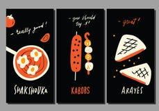 Nourriture du Moyen-Orient Ensemble d'insectes Élément tiré par la main drôle de nourriture et de lettrage dans le style de griff illustration stock