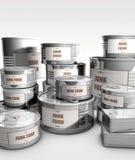 Nourriture en boîte avec le label de nourriture industrielle Images stock