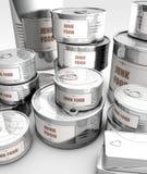 Nourriture en boîte avec le label de nourriture industrielle Image libre de droits