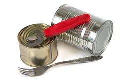 Nourriture en boîte et fourchette Image stock