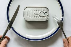 Nourriture en boîte pour le repas Photographie stock
