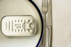 Nourriture en boîte pour le repas Images libres de droits