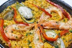 Nourriture espagnole de Paella en détail Photographie stock libre de droits