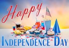 Nourriture et boissons sur la partie américaine de Jour de la Déclaration d'Indépendance Image stock