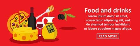 Nourriture et concept horizontal de bannière de l'Italie de boissons illustration stock