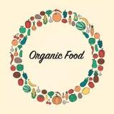 Nourriture et fond de boissons Aliment biologique Fruits et légumes Concept sain de consommation Vecteur Photographie stock libre de droits